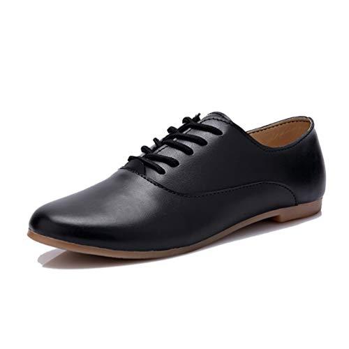 Mocasines De Mujer Mocasines De Cuero Suave Zapatos Oxford Zapatillas De Ballet con Cordones Calzado Informal Cómodo Zapatillas De Conducción para Caminar para Damas