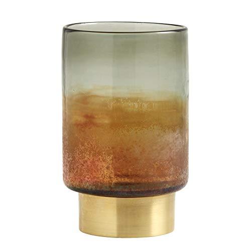 Nordal Multicolor Glas-Laterne mit Messingfuß Kerzenständer H 20 cm