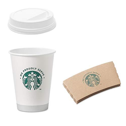 Starbucks Weiße Einwegbecher aus Pappe, 340 ml, Hüllen und Deckel (50 Stück)