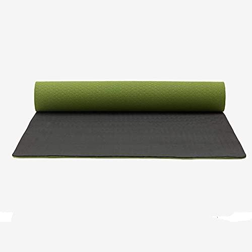 NZKW Colchonetas de Yoga Mate para Yoga, 6 mm / 8 mm Alfombrilla de Yoga Antideslizante de Alta Densidad a Prueba de desgarros Alfombrilla de Gimnasio (Color: Verde, Tamaño: 183X80X0.6c