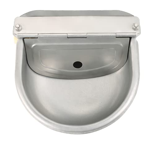 NATGAI Automatic Stainless Steel Waterer Bowl with Float Valve Water Trough Farm Grade for Horse Cattle Goat Sheep Dog