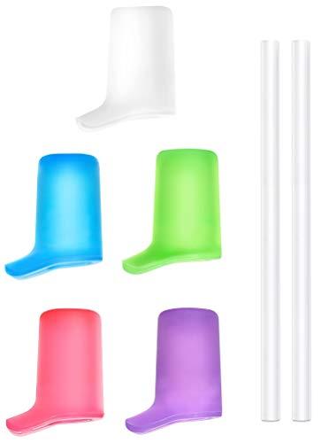 VOSOE Bite Valves for CamelBak Eddy+ Water Bottles, Accessory for CB Eddy+ Bottle and Cap (5 Multicolored Bite Valves & 2 Straws)