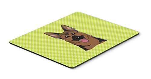 Caroline's Treasures BB1273MP Checkerboard Lime Green German Shepherd Mouse Pad, Hot Pad or Trivet, Large, Multicolor