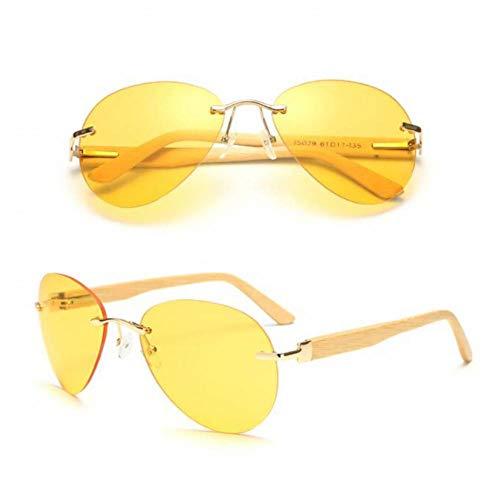 Taiyangcheng Bamboe Hout Zonnebril Vrouwen Spiegel Rimless Customed Logo Glas Mannen Metaal Originele Hout Rijden Oogkleding, nacht visie lens
