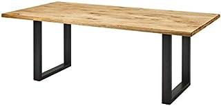 Zons Table À Manger 8-10 Personnes Naturel Bois CHÊNE Massif, 220x100xH75 EP4 CM