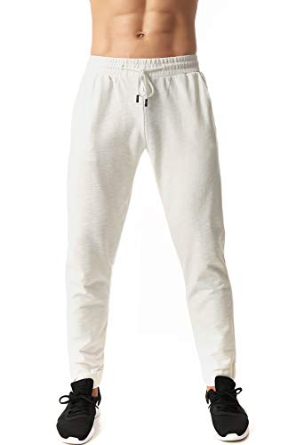 ICON Mens Jogger Pant Soccer Training Bamboo Cotton Thick Fabric (White, XXL)