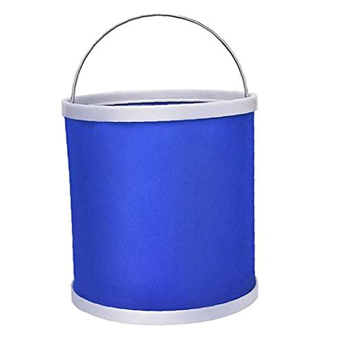 Liadance Acampar Cubo Plegable Plegable Pesca Pail bañera Redonda de campaña, con Mango de Traslado de Cubierta 11l Azul al Aire Libre