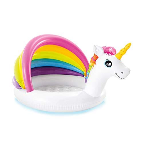 YJYQ Piscina Hinchable, Centro Juegos Hinchable,Piscina Infantil con Toldo Inflable,con Sombra De Unicornio,para Bebé