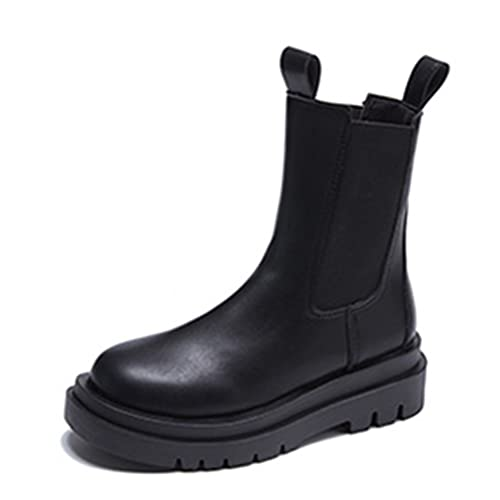 Media caña mujer Botas Tobillo Plataforma Otoño Invierno Chelsea Botas Elegantes Flat Round Toe botas cortas