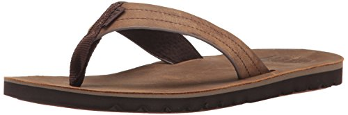 Reef Mens Sandal Voyage Le | Premium Real Leather Flip Flops for Men with Soft Cushion Footbed | Waterproof, Dark Brown, 11