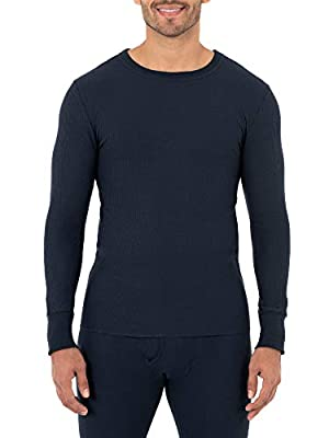 Fruit of the Loom Men's Classic Midweight Waffle Thermal Underwear Crew Top (1 & 2 Packs), Navy, Medium