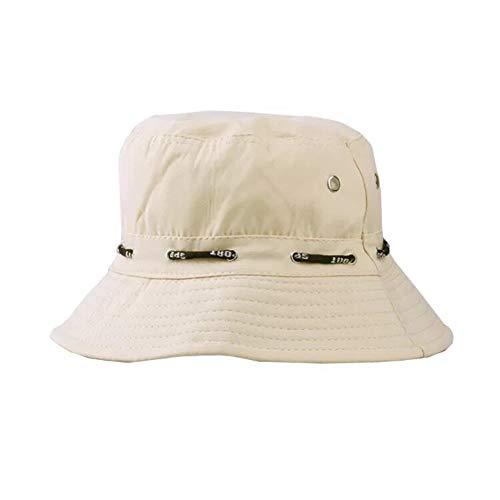 ZARRS Sombrero de Pescador,Sombrero de Cubo Algodón Transpirable Sombrero de Sol para Hombres Mujeres Adolescentes Acampar al Aire Libre Senderismo Pesca Caza Golf 56-58cm Beige