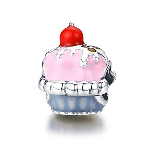 LISHOU Genuino 925 Taza De Plata Esterlina Pastel Esmalte Pastel De Cumpleaños Colgante con Cuentas Ajuste Original Pulsera Collar Cuentas DIY Fabricación De Joyas