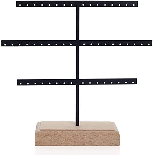 qiuqiu Soporte De Exhibición, Soporte para Pendientes, Estante De 3 Capas, Soporte De Joyería De Árbol De Joyería De Metal Y Madera para Collares, Pulseras (52 Agujeros)-Black