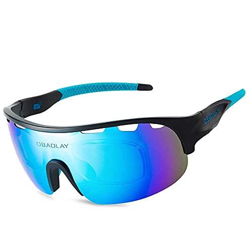 AXB Gafas Sol Polarizadas Ciclismo, 100% Protección UV 400 Anti Montura De TR90 Gafas Sol Deportivas Gafas Ciclismo para Montar se Adapta Al Esquí Correr