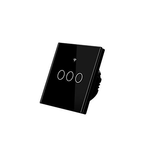 YMMONLIA Touch LichtschalterLicht Funkschalter Wandschalter Innen-Touchschalter Glas Touchscreen Touch Panel, Sprachsteuerung, Zeitfunktion, berlastschutz