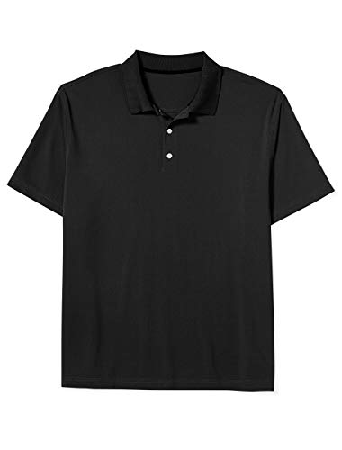 Amazon Essentials Men's Big & Tall Quick-Dry Golf Polo fit by DXL, Black, 3X