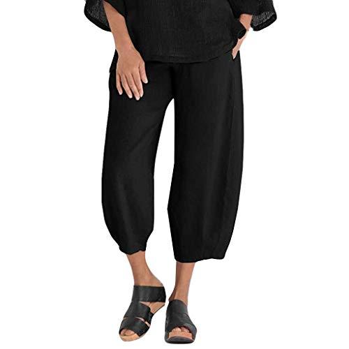 Dtuta Hosen Damen Sommer Casual Streetwear Hosen Locker Leichte Haremshose Gummibund Freizeithose Pant Übergröße