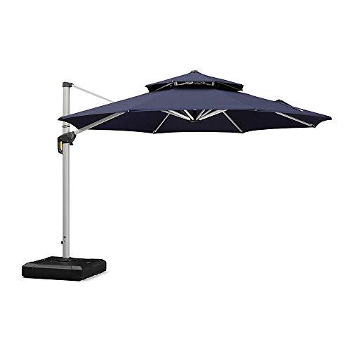PURPLE LEAF 11 Feet Double Top Round Deluxe Patio Umbrella Offset Hanging Umbrella Outdoor Market Umbrella Garden Umbrella, Navy Blue