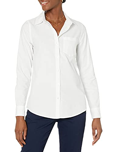 Amazon Essentials Women's Classic Fit Long Sleeve Button Down Oxford Shirt, White, Small