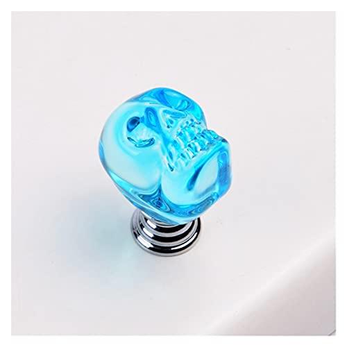 Delawen Klarer Kristallknopf Schädel geformter einzigartiger transparenter Griff Schmuckschatulle zieht den Geschenk karton winzige glasknöpfe (Farbe : Lake Blue)