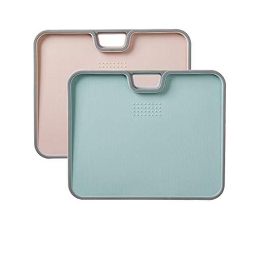 SHUILV Tablero de picado de cocina Tablero de plástico duradero grueso, textura de golpe de superficie, pendiente anti-desbordamiento, mango de agarre fácil de deslizamiento, para cocina, tabla de cor