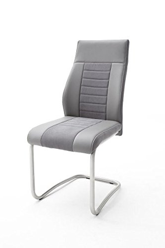 2 Stühle Tito, Schwinger, Schwingstuhl, Freischwinger, grau