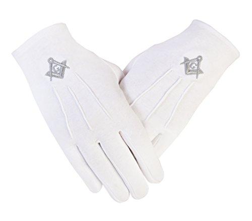Freimaurer Freimaurer Handschuhe in weißer Baumwolle SC&G PCI Silber für Männer in Größe XX- Large