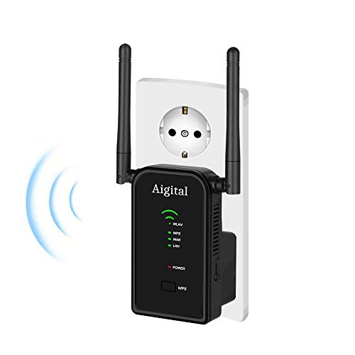 Aigital WiFi Repetidor Router, 300Mbps Enrutador Inalámbrico Extensor de Red WiFi Ap Amplificador Wireless Repeater Booster Wireless-N 2.4GHz Modem con Antena 2x3dBi (WPS)