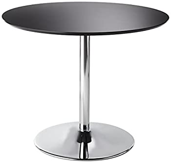 Target Marketing Systems PISA Modern Retro Round Top Dining Table with Chrome Plated Base 35.4  Black
