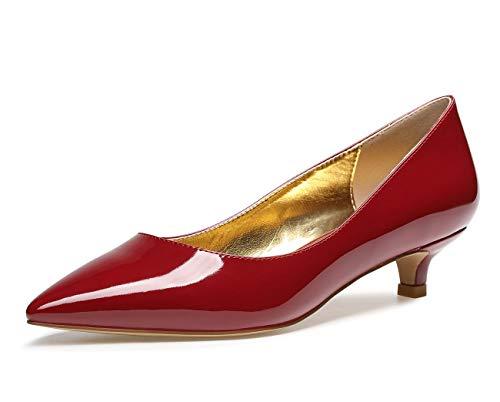 CASTAMERE Scarpe col Tacco Donna Punta Appuntito Moda Tacco Gattino 3CM Rosso Borgogna Pelle Verniciata Scarpe EU 38