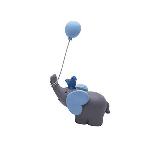 Toyvian Figurine di Elefanti Decorazioni per Torte Decorazione di Una Torta Bambola di Elefante con Palloncino per Bomboniere Ornamenti da Tavola Regalo per Bambini (Azzurro)