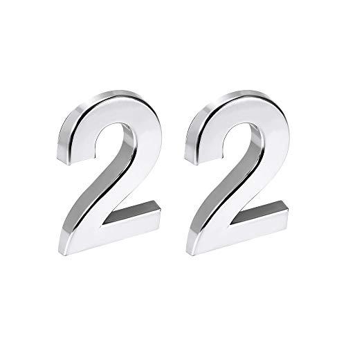 sourcing map Autoadhesivo Hogar Número, 2.76 Pulgadas ABS Plástico Número 2 para Casa Hotel Buzón Dirección Signo Tono Plata 2 uds