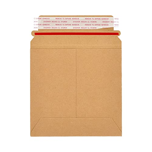 PSBM Rigid Mailers  6x6 Inch  200 Pack  Kraft Brown  Stay Flat Cardboard Shipping Envelopes for Photo & Document  Self Seal