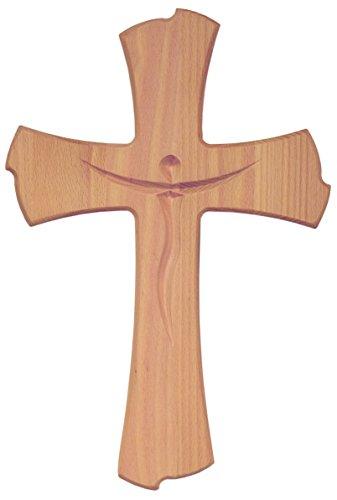 Kaltner Präsente Geschenkidee - Wandkreuz Echt Buche Holz Kreuz Kruzifix für die Wand 35 cm modern