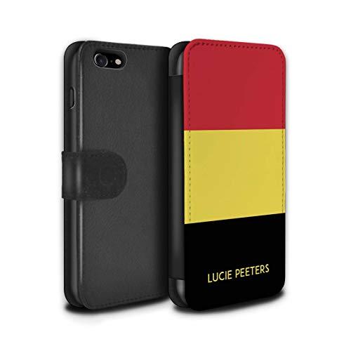 Stuff4 PU lederen hoesje/Cover/Portemonnee/IP-PSW/Aangepaste Nationale Natie Vlag 2 Collectie Apple iPhone SE 2020 België/Belgisch