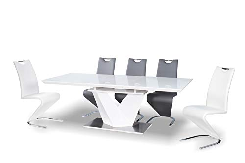 Alaras III White High Gloss and White Glass Extendable 160-220 cm Dining Table