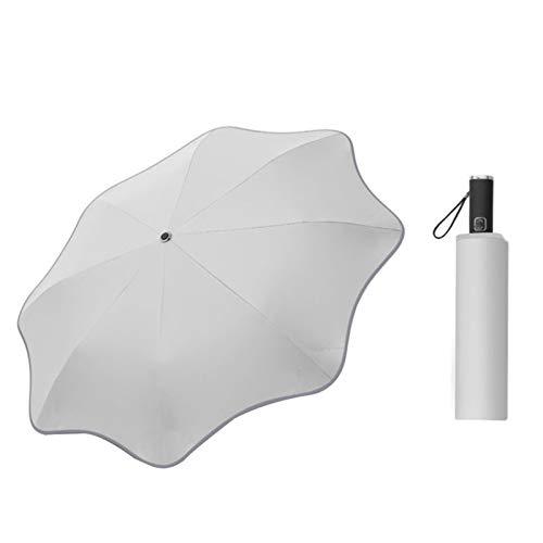 laoonl Paraguas compacto, paraguas plegable a prueba de viento, paraguas de viaje, paraguas de sol y lluvia, paraguas de 3 pliegues con apertura automática con esquina redonda de 8 costillas duraderas