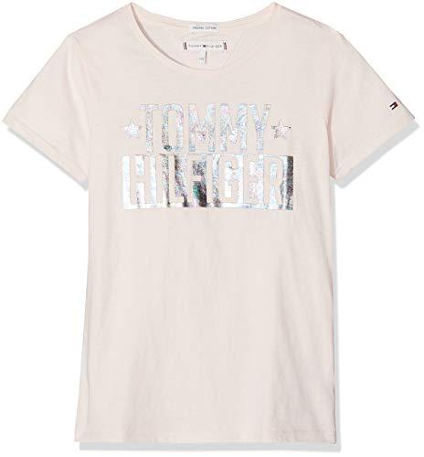 Tommy Hilfiger Tommy Hilfiger Mädchen FOIL Logo Tee S/S T-Shirt, Rosa (Barely Pink 617), 92 (Herstellergröße: 74)