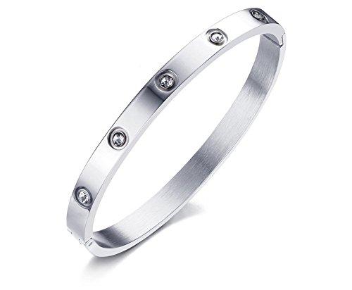 VNOX 6mm Frauen Edelstahl Kristall verstellbare Cuff Armreif Armband Silber,60 mm Durchmesser