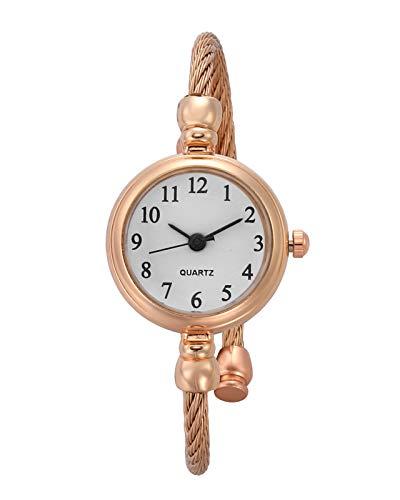 JSDDE Uhren Vintage Damen Armbanduhr Chic Manschette Damenuhr Spangenuhr Rund Armreifen Armkette Uhr Quarzuhr Kleideruhr für Frauen Rosegold-Weiß