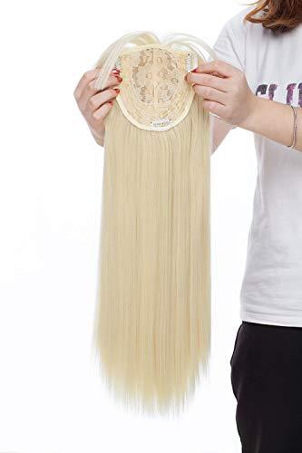 Haartopper One Piece Clip in Toppers Extensions Gerade Haarverlängerung Toppiece Haarteil 43cm Bleichmittel Blond