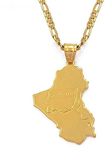 Collar Moda República de Irak Mapa Bandera Nacional Color dorado Mapa de Irak Collares pendientes Joyas para mujeres Hombres Artículos iraquíes con cadena de 45cm X3mm Collar colgante Regalo para homb