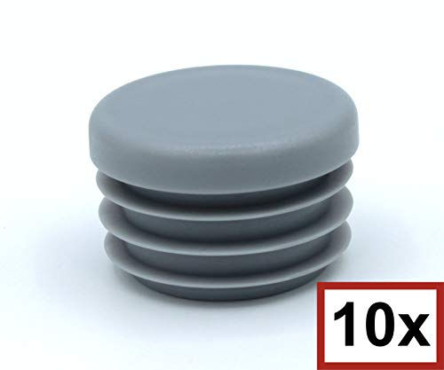 10 Stück Rund-Rohrstopfen, Lamellenstopfen ALLE GRÖßEN WÄHLBAR 10mm bis 120mm, Möbelgleiter, Schutzkappen, Rundstopfen (Rohraußendurchmesser: 48mm, Rohrwandstärke: 3-4mm, Grau)