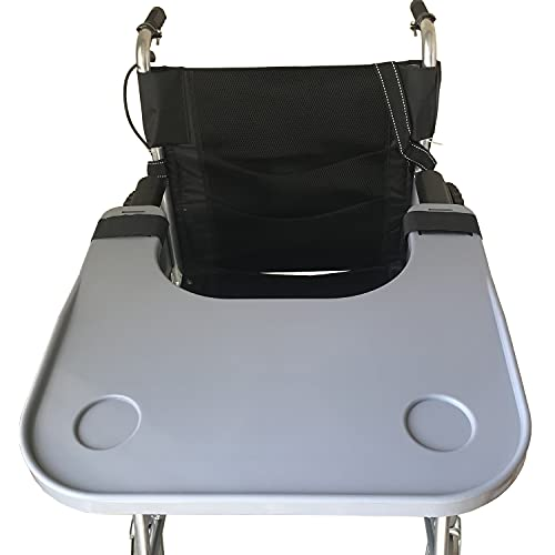"""Wheelchair Lap Tray Table with Cup Holder, Removable Wheelchair Lap Tray, Medical Portable Desk Accessories for Eating, Reading, Resting, Fits Wheelchair Arms of 16"""" - 20"""" (Gray)"""
