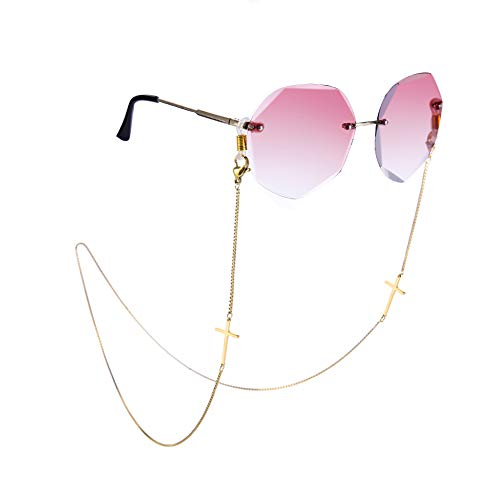 Gafas de sol con cadena y máscara facial, cordón de cadena para gafas, cordón de retención, correa para mujeres - dorado - Medium