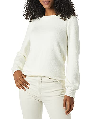 Amazon Essentials Soft Touch Pleated Shoulder Crewneck Sweater, Ivory, S