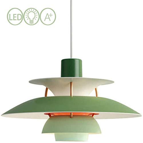 JXWANG PH5 Pendelleuchten,Moderne Kronleuchter Dänische Designer Licht Westlichen Kronleuchter Gradient Beleuchtung Deckenleuchte Wohnzimmer Bar-40cm (Grün Orange Pink Weiß),Green-40cm