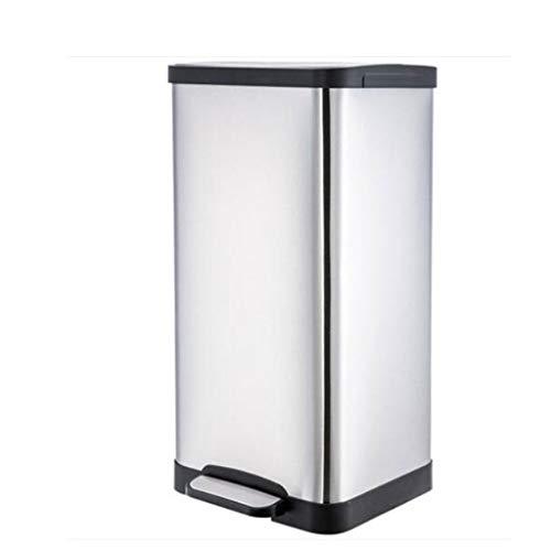 RVS Vierkant Pedaal Prullenbak Creatieve Europese Huishoudelijke Badkamer Woonkamer Grote Prullenbak 15 Liter Grote Capaciteit Kwaliteit Garantie Verhoging Verdikking WHLONG