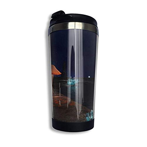 Vaso de café de viaje Taza de acero inoxidable Regalo para amantes de los animales Cueva con setas luminosas